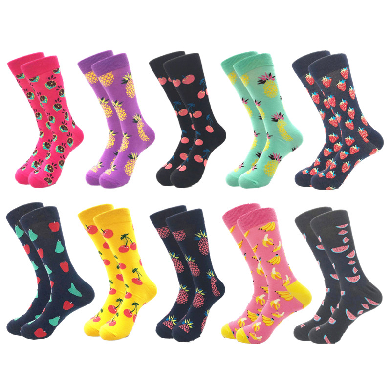 Image 3 - 10pairs/lot Mens Happy Socks Quality Combed Cotton Crew colorful Funny cartoon Socks fashion long male compression Casual sock-in Men's Socks from Underwear & Sleepwears