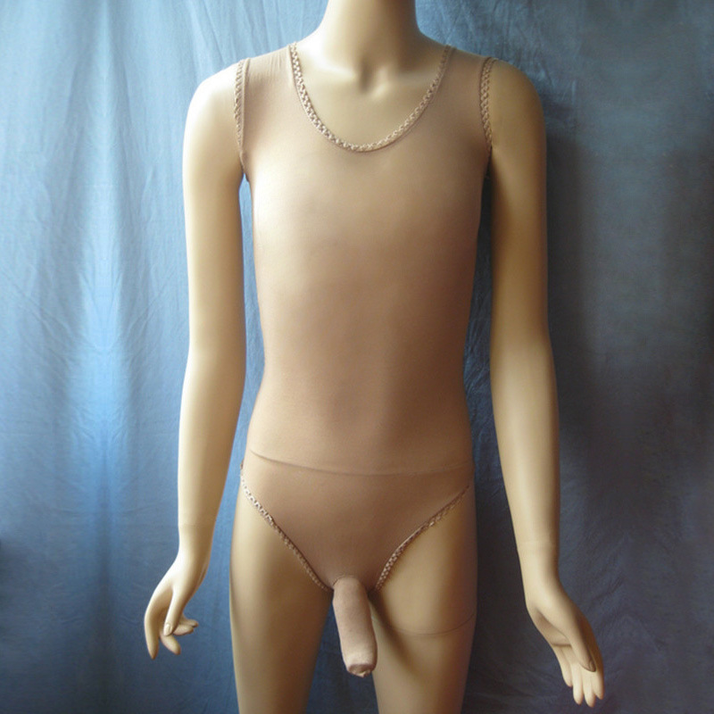 Sexy Male Hot Erotic See Shrough Vest Onesie Lingerie Sheer Crotch Sheath Bodysuit Sissy Fetish Underwear Costume