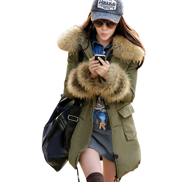 Women Thicken Warm Winter Raccoon Fur Collar Parka Coat 2017 New Fashion Hoodie Long Jacket Outerwear Army Green Beige Black 2017 winter new clothes to overcome the coat of women in the long reed rabbit hair fur fur coat fox raccoon fur collar