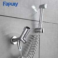 Fapully Solid Brass Chrome Bathroom Handheld Bidet Faucet Toilet Portable Bidet Shower Sprayer Jet Set Water