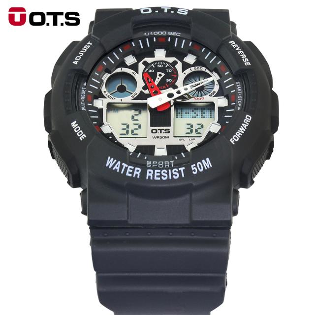 OTS Top Marca de Lujo Analógico-Digital Unidad Analógico Digital Alarma Impermeable Reloj de los hombres reloj de pulsera de Cuarzo Deporte Militar 8007