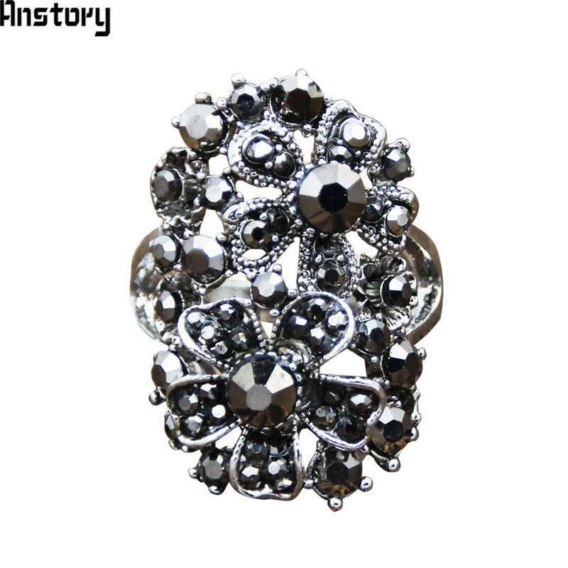 Vintage Big Flower Rhinestone Rings For Women Antique Silver Plated Party Cluster Rings Fashion Jewelry TR660