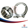 "PQY RACING- 2.75"" SUS 304 Steel Stainless Exhaust V Band Clamp Flange Kit V- band Vband Male Female Design PQY5242"