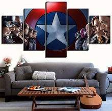 5 Piece America Movie The Avengers Poster Home Decor Wall Art Framework Role Picture Modern High Quality Canvas Printed Painting