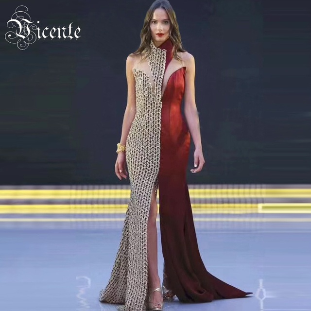 Vicente 2019 New Arrival Runway Chic Combo Plunge Sexy Splitting Nude Mesh  Maxi Celebrity Party Wholesale Bandage Dress