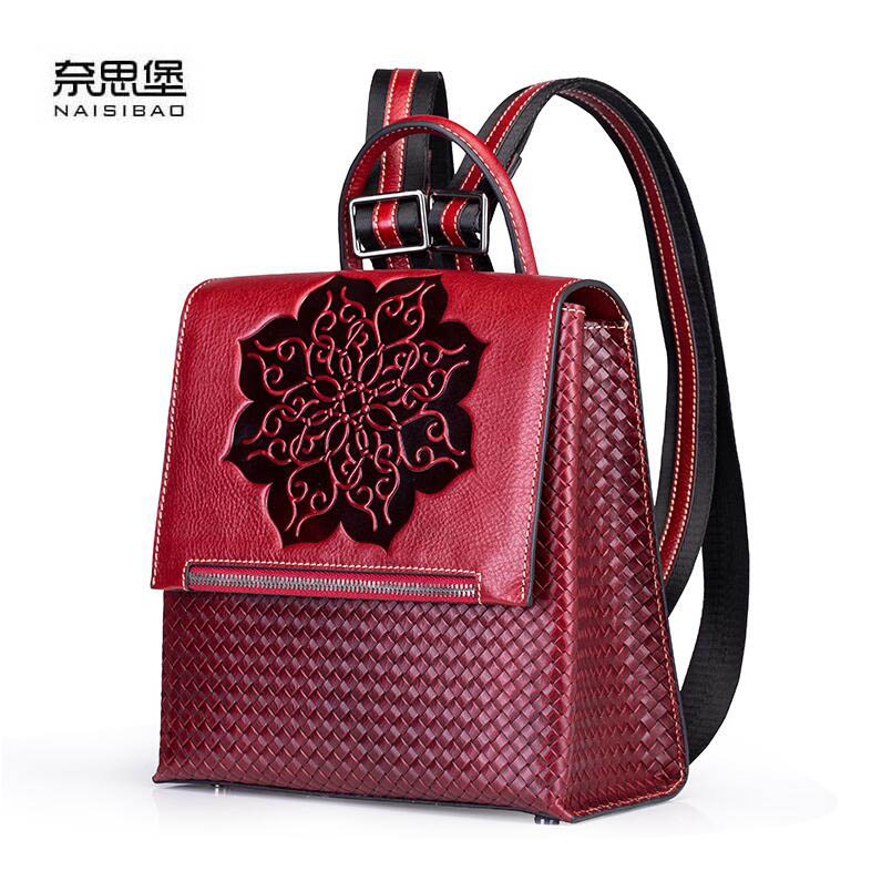 NAISIBAO 2019 New Genuine Leather backpack top Cowhide Embossing women leather bag Fashion tote bag real leather women backpackNAISIBAO 2019 New Genuine Leather backpack top Cowhide Embossing women leather bag Fashion tote bag real leather women backpack
