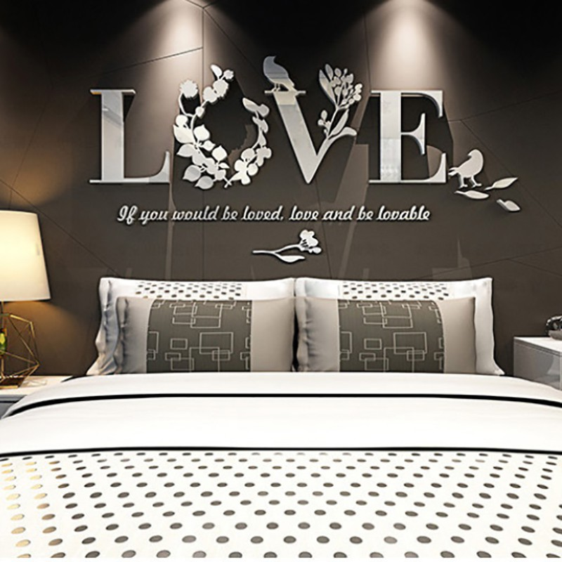DIY 3D Leaf LOVE Stylish Wall Sticker Art Vinyl Decals Acrylic Mirrored Decor Bedroom Living Room Decor Removable Sticker