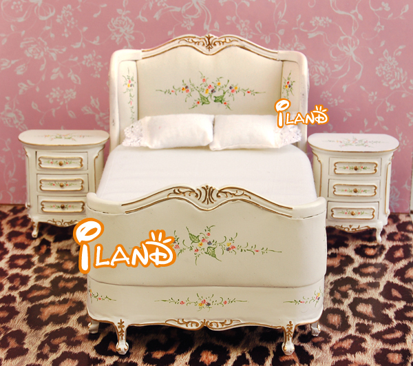 Iland 1/12 Dollhouse Victorian Bedroom Furniture Set