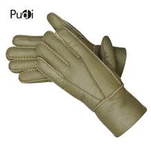 Pudi GL859 człowiek prawdziwej skóry prawdziwe futro rękawiczki 2018 zimy nowa prawdziwa skóra wysokiej jakości jedno futro mans #8222 rękawiczki czarne kolor tanie tanio Moda Nadgarstek Stałe Dla dorosłych