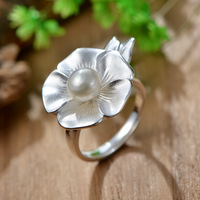 925 Silver Fashion Lotus Natural Pearl Opening Ring