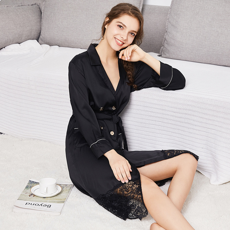 2018 Sexy Lingerie Sleepwear Long Lace Nightwear Bridesmaid Robes Solid Soft Nightgown Bathrobe Wedding Robes Home Clothes WP826