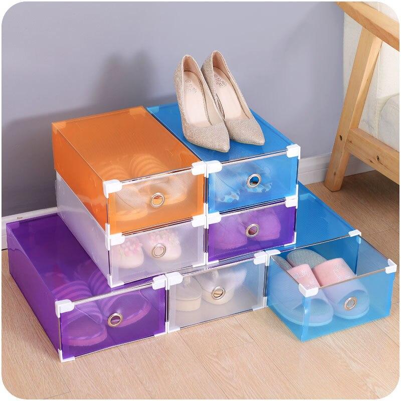 5ks / Set Krabička na boty Skladovací pouzdro Transparentní plastová krabička na obaly Obdélník PP Pořadač na boty Hrubá zásuvka Sáček na boty