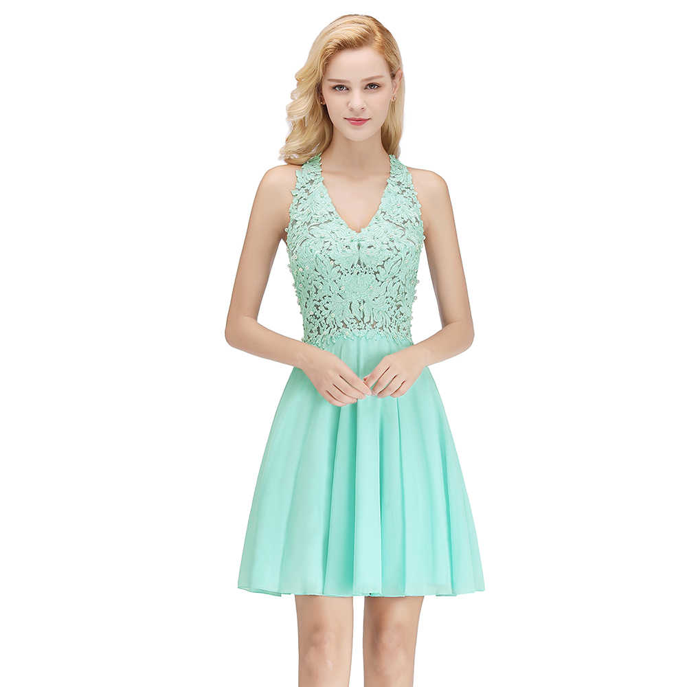 4e7b508b717a8 New Style cocktail party Dresses short Vestido de Festa mini sexy appliques  dress V-neck Women Formal Prom Party Gown With Pearl