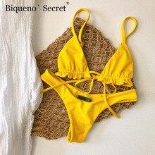 Conjunto de biquini sexy plissado, biquini feminino amarelo, fio dental, roupa de banho, moda praia 2019 bain