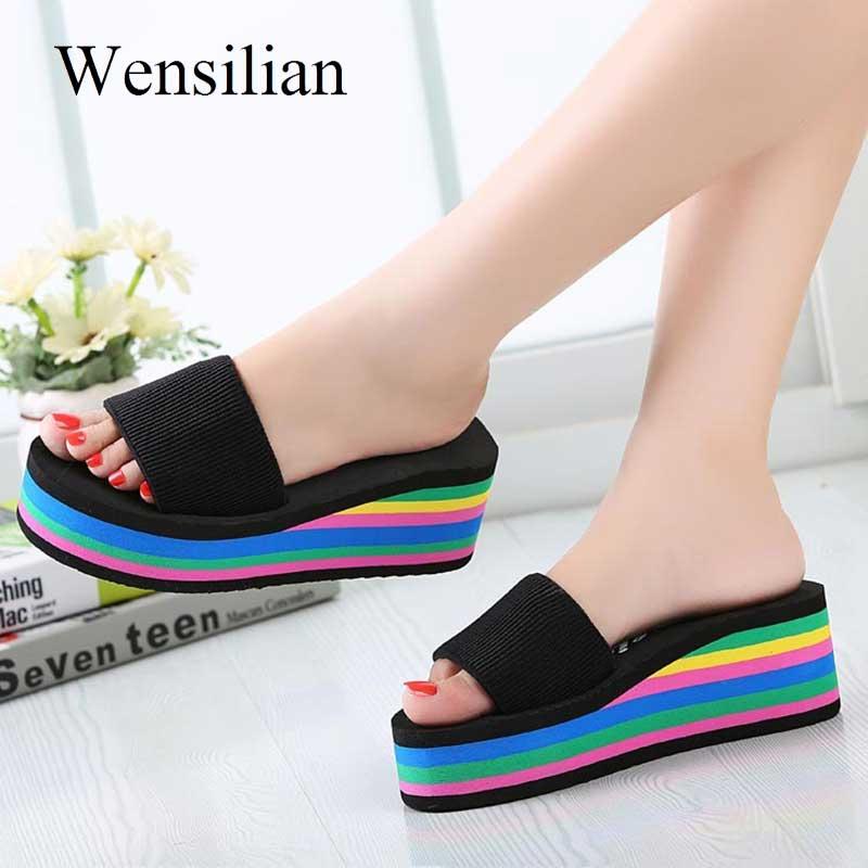 bd14f3d7c3 Summer Sandals Women Wedges Platform bath Slippers Beach Flip Flops Rainbow  Thick Heel Ladies Colourful Shoes Zapatos Mujer