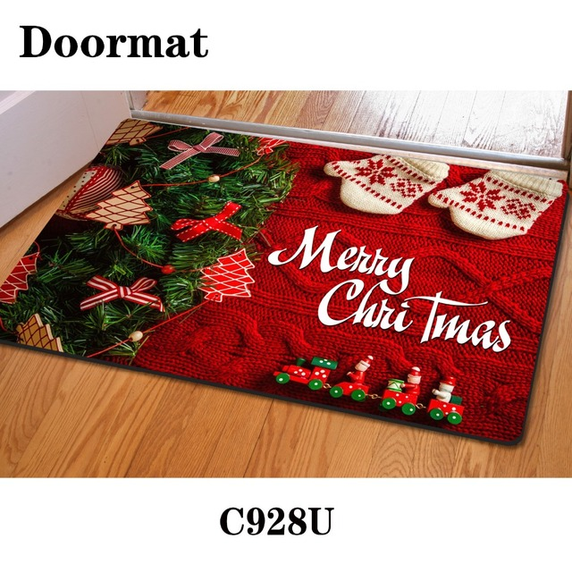 Design 3d Print Front Door Mat Floor Carpet Merry Christmas Rug