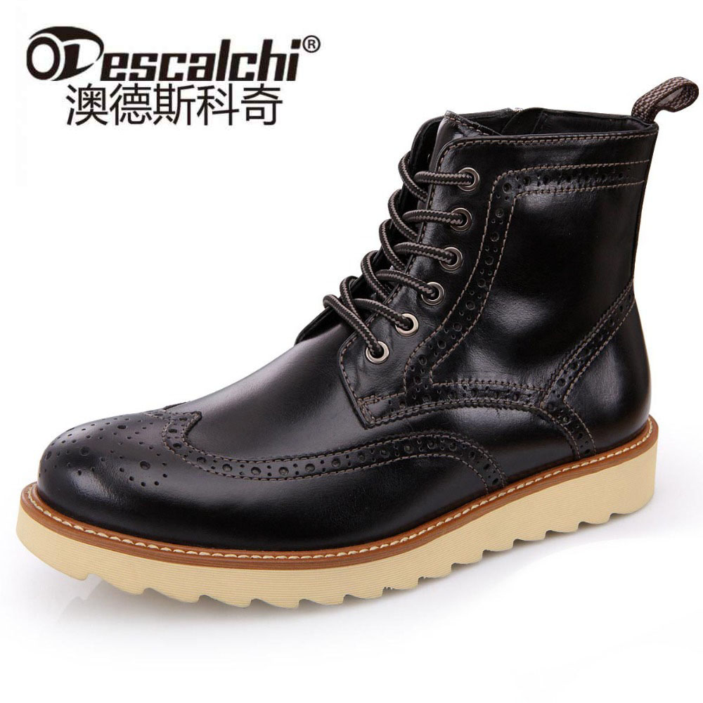 Odescalchi 2017 Mens Genuine Leather Ankle Boots Winter Spring British Men Boots Male Tooling Boots Outdoor High-top Men Shoes british style vintage men ankle boots genuine leather male tooling boots riding equestrian lace up autumn winter 2 5