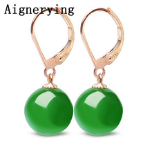 18K Rose Gold Certificate Natural Green Jade Jewelry Dangle for Women Girl Jewellery vintage Earrings Hook bezel with Gift Box
