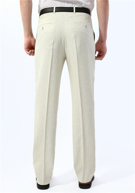 Icpans Men Suit Pants length Thin Business Office Summer Khaki Linen Men Pants Flat Straight Male Trousers Big Size 40 42 44