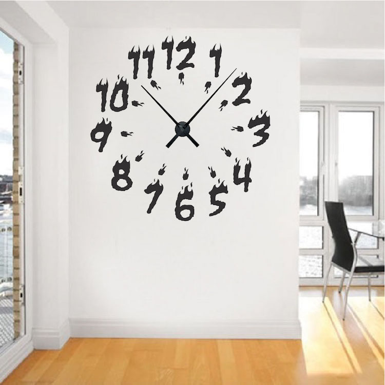 Funny Clock Silhouette Tea Time Wall Decals For Kitchen Wall Posters