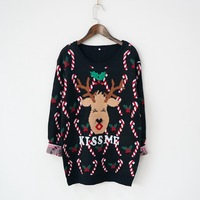Women Ugly Christmas Sweater With Deer Printed Lovely Korean Female Winter Sweater Thicken Knitted Cotton Jumper