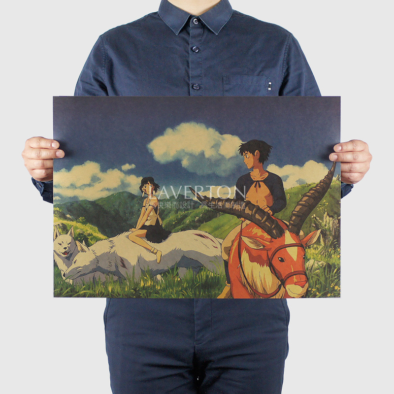 Miyazaki Hayao Cartoon Comic 21/Mononoke Hime B/kraft paper/Wall stickers/bar poster/Retro Poster/decorative painting 51x35.5cm