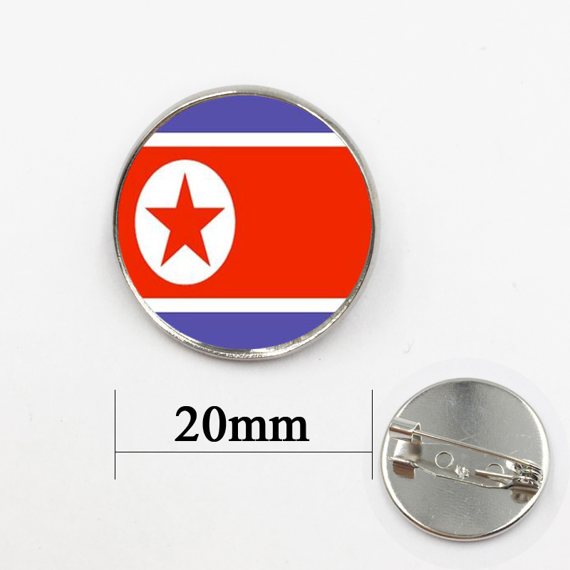 North Korea Flag Glass Dome Pins Brooches Women Handmade Jewelry image
