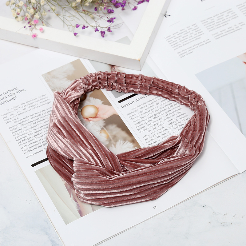 CINGHI LUSSO Fashion Solid Velvet Knot Headband for Women Stripe Elastic Hair Band Hairdband Accessories Girls Stretch Head Hoop in Women 39 s Hair Accessories from Apparel Accessories