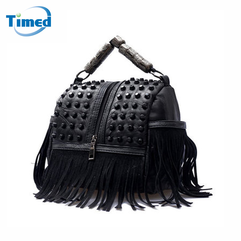 New Design Fashion Sheepskin + Pu Leather Tassel Shoulder Bags Women Casual Punk Style Handbags Rivets Messenger Bag Lady Totes new 2017 fashion leather lady patchwork natural sheepskin shoulder bag famous brand women s bag casual bag