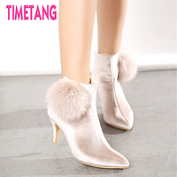 TIMETANG European High Fashion Velvet Woman Ankle Boots Elegant Fox Fur Spike Heel Lady Shoe Free