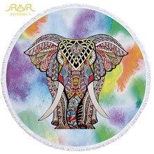 7a18c22fe4c7 ROMORUS Hot Redonda Toalha de Praia Toalhas de Banho de Microfibra Tecido  Mandala Elefante Borla 150 cm Grande Macio Cobertor Yo.