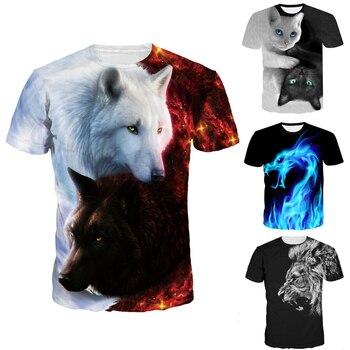 2018 أحدث الذئب 3d طباعة الحيوان بارد مضحك تي شيرت الرجال قصيرة كم الصيف القمم تي شيرت t قميص الذكور الأزياء شيرت الذكور 3xl