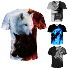 2018 Newest Wolf 3D Print Animal Cool Funny T-Shirt Men Short Sleeve Summer Tops Tee Shirt T Shirt Male Fashion tshirt Male 3XL