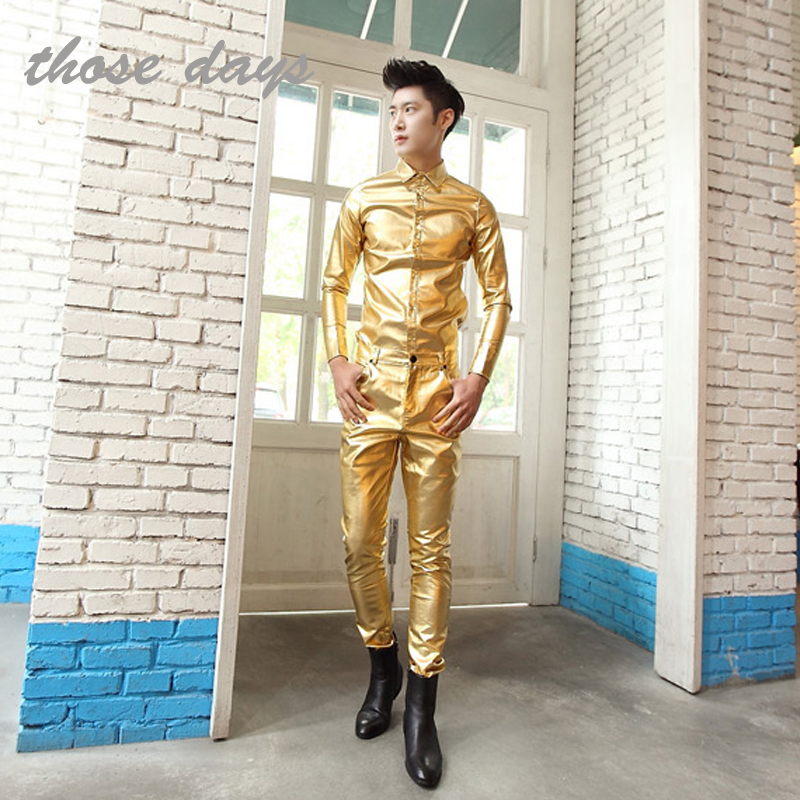 Hot ! Men fashion clothes stage singer tight costume gold silver trousers punk leather pants . free shipping / 28-34