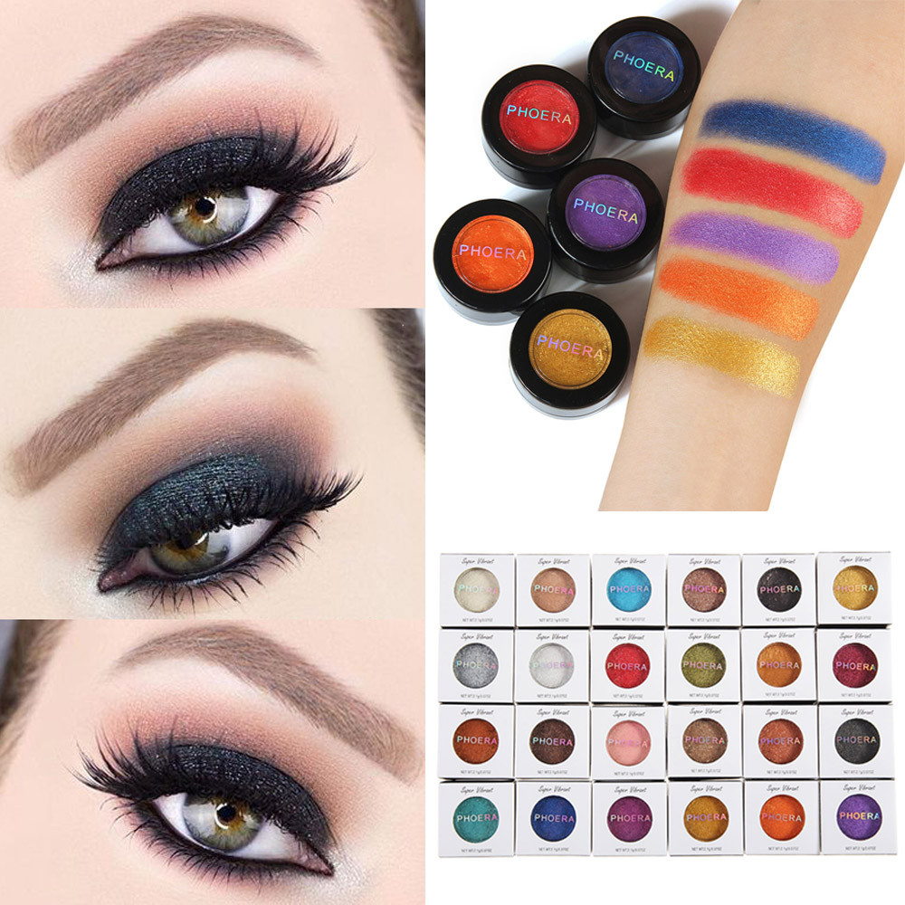 Beauty Essentials Phoera 24 Colors Waterproof Eye Shadow Cream Pigmented Diamond Glitter Matte Shimmer Powder Cosmetic Kit Eye Makeup Tslm2