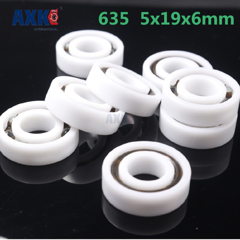 2pcs 5mm x 19mm x 6mm White POM Plastic Glass Ball Bearing 635 Model