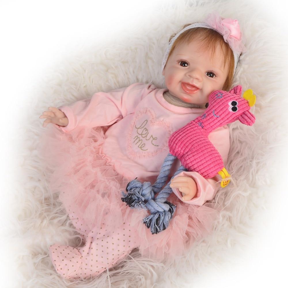 Keiumi 22 inch reborn baby girl 부드러운 실리콘 비닐 인형 장난감 웃는 아기처럼 보이는 인형 reborn 55 cm for kids 새해 선물-에서인형부터 완구 & 취미 의  그룹 1