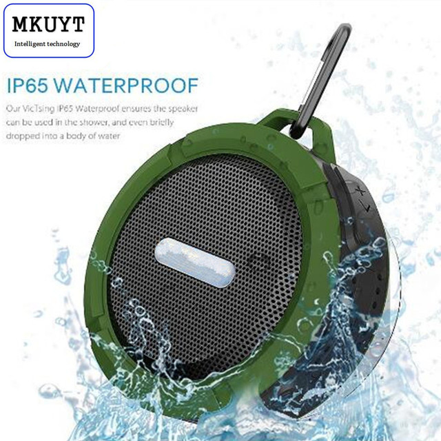C6 Wireless Waterproof Speaker with 5W Drive,Support SD TF Card , Suction Cup, Buit-in Mic, Hands-Free Speakerphone PK BTS06