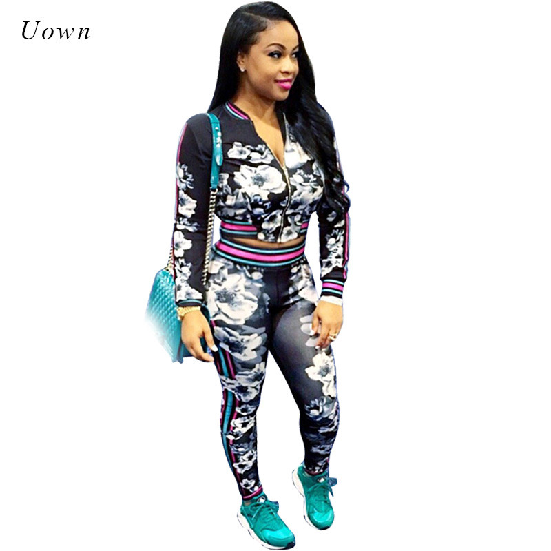 2017 Fashion Sweat Suits for Women Long Sleeve Two Piece Set Floral Print Jacket + Ladies Jogger Pants Set Pink Women Tracksuits