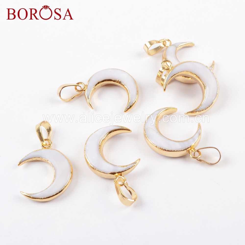 BOROSA 10Pcs GoldสีMoonรูปร่างธรรมชาติสีขาวจี้Gold Trim Crescent Shellจี้สำหรับสร้อยคอg1668