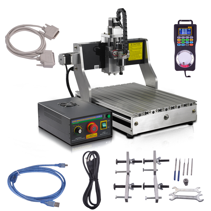 CNC Engraver Machine 300W Water-Cooled Spindle Motor 4030 Worktable Mach3 Controller + Wireless Pendant Router Engraving Kit new 1 5kw air cooled spindle motor kit cnc spindle motor 220v 1 5kw inverter square milling machine spindle free 13pcs er11