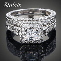 Luxury Fashion Couple Rings White Shine Zircon Rings Female Jewelry Rhinestones Crystal Wedding Bands