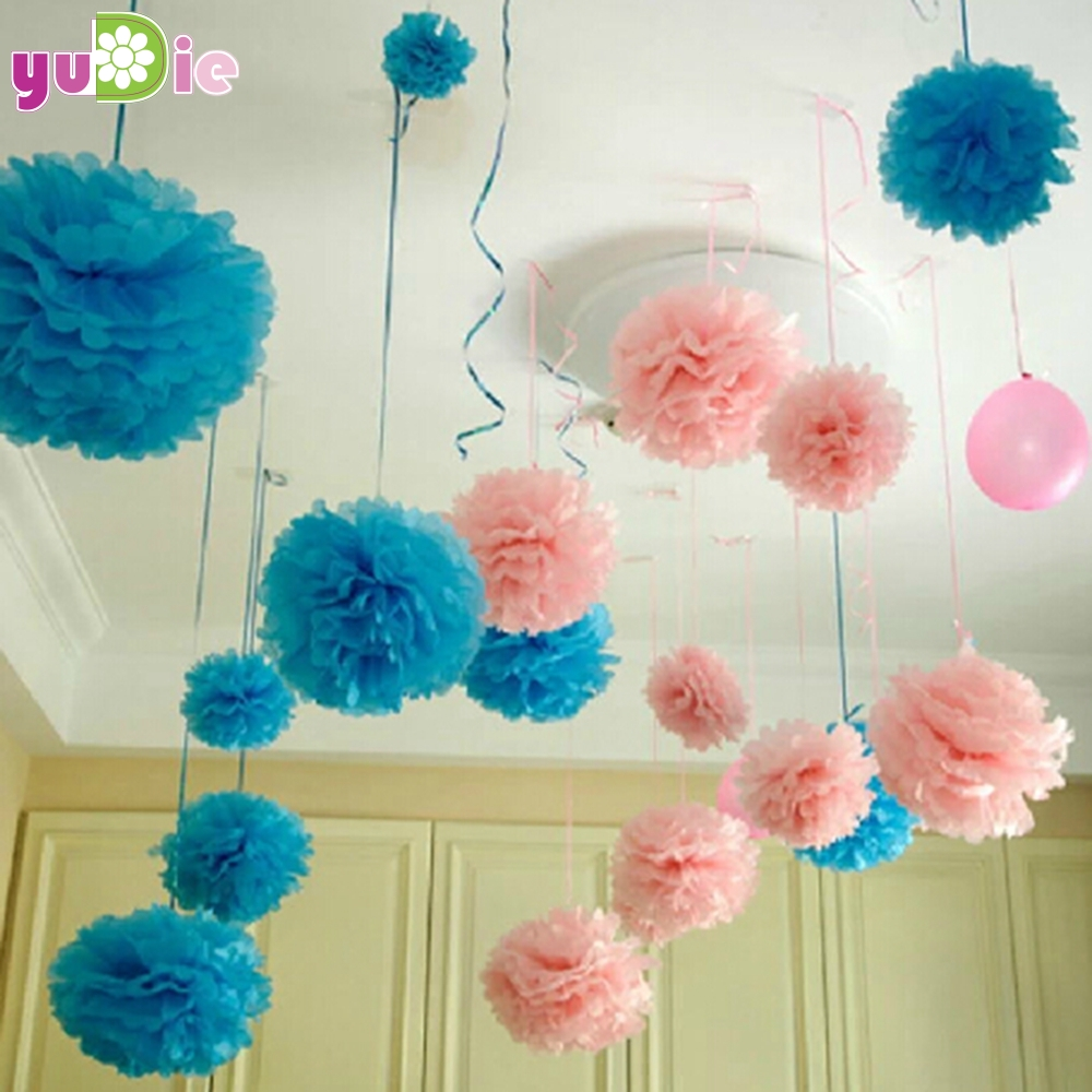 Birthday party backdrop tissue paper pom poms product on alibaba com - 10pcs Paper Pompom Tissue Ball Decorative Supplies Flower For Wedding Home Party Room Banquet Decoration Pompon Craft Products