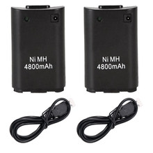 2 stks 4800 mah Batterij Pack voor Microsoft Xbox 360 Draadloze Game Controller Gamepad Batterij Pack Voor Xbox360 + USB charger Cable(China)