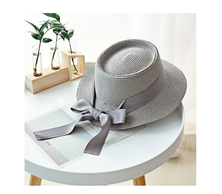 HTB13225aI vK1Rjy0Foq6xIxVXaz - Ymsaid New Summer Sun Hats Women Fashion Girl Straw Hat  Ribbon Bow Beach Hat Casual Straw Flat Top Panama Hat Bone Feminino