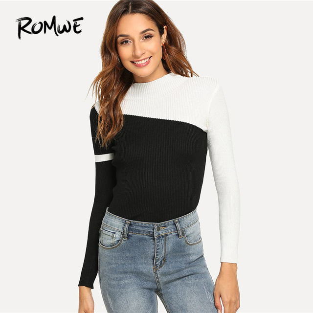 c83c1dd9d25 ROMWE Black And White Color Block Sweater Women Casual Autumn Stand Collar  Long Sleeve Clothes Female