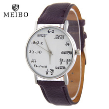 MEIBO Fashion Maths Formula Watch Leather Watchband Women Personalized Watches Casual Men's Watch  Lovers Wrist watches gift