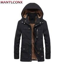 MANTLCONX 2019 New Casual Men Jacket Winter Thick Warm Fleece Zipper Hooded Hoodies Coat Male Long Coats