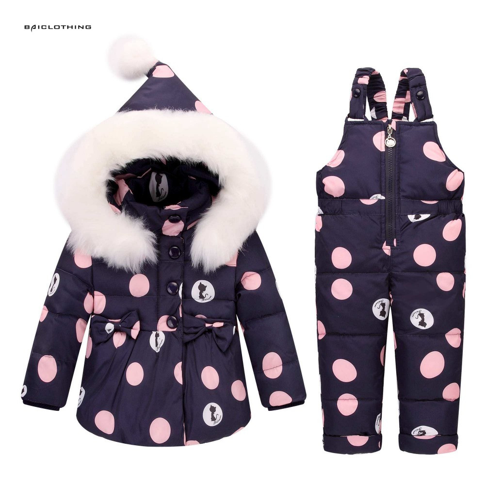 -30degree Cold Winter Children Clothing Sets Girl Fur Collor Parka Down Jacket Baby Girl Clothes Child Coat Snow Wear Kids Suit