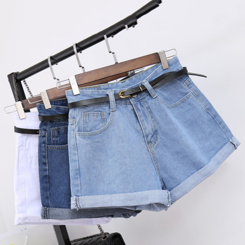ROPALIA Retro High Waisted Denim Shorts For Women Rolled Denim Jeans Shorts With Pockets Summer Loose Slim Shorts S-2XL T7
